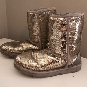 UGG Classic Short Silver/Gold Sequin Boots